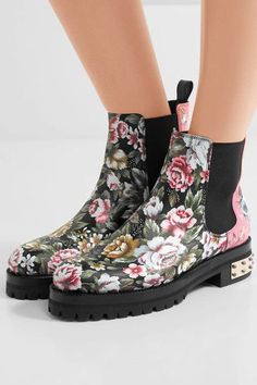 Alexander McQueen - Embroidered Printed Leather Chelsea Boots - Pink - IT39.5
