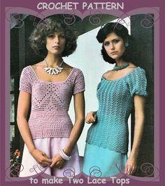 1970's Crochet Pattern by PDF. Romantic Lacy Short Sleeve Tops Blouses