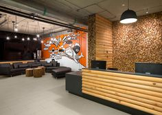 FEATUE WALL MURAL   SSDG   interior designer Stephanie Gust   Hootsuite Office