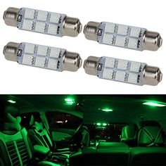 Partsam 4pcs Green 6-5050-SMD LED Bulbs 44mm Festoon Cap Lamps Car Interior Dome Map Reading Lights for Chevrolet Dodge Ford GMC etc. - (561 562 564 570 571 577 578 211-2 212-2 214-2 Bulbs). For product info go to:  https://www.caraccessoriesonlinemarket.com/partsam-4pcs-green-6-5050-smd-led-bulbs-44mm-festoon-cap-lamps-car-interior-dome-map-reading-lights-for-chevrolet-dodge-ford-gmc-etc-561-562-564-570-571-577-578-211-2-212-2-214-2-bulbs/