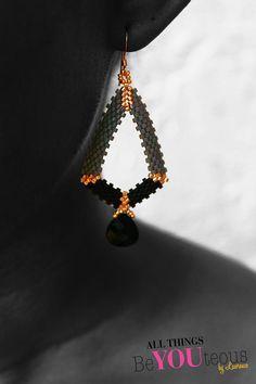 Geometric Gray & Black Beaded Earrings w/ Briolette by BeYOUteous