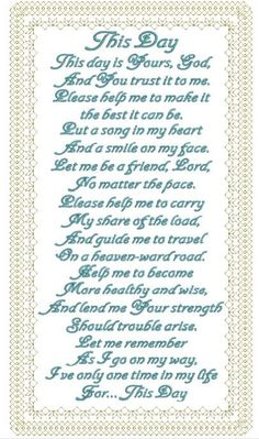 This Day Poems Beautiful, Quotes About God, Machine Embroidery, It Is Finished, Faith, Chart, Inspirational, Songs, Day