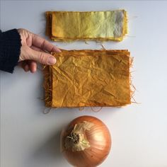 Onion skin dye on cotton. Using alum as mordant. And an ombré dip dye at the top. Natural dye by Katrina Rodabaugh. www.katrinarodabaugh.com