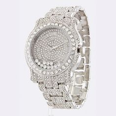 """Heavily rhinestone crystal encrusted watch, available in 3 colors. - 1.6"""" diameter case - Bracelet width 0.8"""" - 7"""" in Length - Hinge clasp - Mineral crystal - Stainless steel back"""