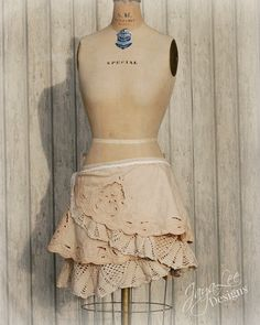 Mori Girl Lace Wrap Skirt, Shabby Chic Upcycled Recycled Clothing by GreenTrunkDesigns