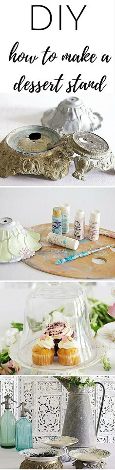 DIY - How To Make A Dessert Stand from vintage lamp parts Craft Tutorials, Craft Projects, Projects To Try, Craft Ideas, Diy Ideas, Decor Ideas, Diy Cupcake Stand, Crafts To Make, Diy Crafts