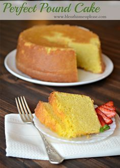The results were a perfectly moist and dense pound cake recipe that wasn't as sweet as I was expecting. Sweet yes, but not so sweet that a few strawberries and whipped cream weren't welcome additions.