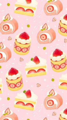 Discover recipes, home ideas, style inspiration and other ideas to try. Wallpaper Kawaii, Cute Food Wallpaper, Cake Wallpaper, Soft Wallpaper, Hello Kitty Wallpaper, Cute Wallpaper Backgrounds, Wallpaper Iphone Cute, Pretty Wallpapers, Cute Cartoon Wallpapers