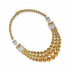 Citrine Quartz and Diamond Necklace