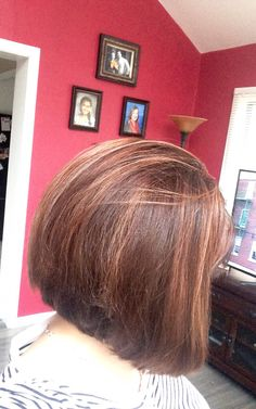 My new stacked Bob with mocha cinnamon hair coloring.