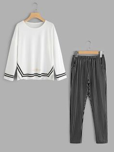 b0ff719fd8 Shop Contrast Trim Top And Stripe Pants Pajama Set online. SheIn offers  Contrast Trim Top And Stripe Pants Pajama Set & more to fit your  fashionable needs.