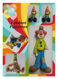 Fondant clown figurines 8cm - 10cm made by Suga Suga Cupcakes