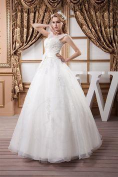 Robe de mariée naturel vie avec fleurs cou manche nulle