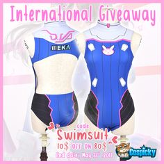 Here we have a great gift for you Weekly giveaway of D.VA Cosplay Swimsuit 2 winners  1. Follow @cospicky 2. Like and Repin this pic  3. Finish above and enter here: https://goo.gl/0cItNw 4.Ends on May 31st,2017  Meanwhile,Use coupon (CODE: Swimsuit) for 10$ OFF ON 80$