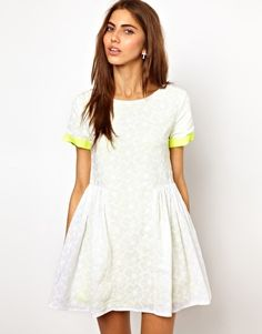 Lashes Of London Smock Dress In Lace With Fluro Contrast. I need this dress in my life