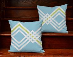Set of 2 Blue Geometric Throw Pillows - Pillow Covers With or Without Cushion Inserts - Blue Diamond Pattern, Retro Sky Blue Pillows, Modern