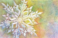 watercolor snowflake. masking fluid, wet paper, salts, and plastic layering.