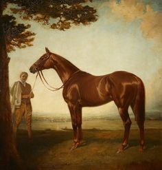 'Corcyra', a Chestnut Racehorse with its Groom in a Landscape, 1915, by James Lynwood Palmer (1867/8-1941)