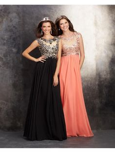 A-Line Cap Sleeves Illusion Neckline Lace and Chiffon Long Prom Evening Party Dresses 1004040