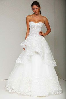 Monique Lhuillier wedding gown - Corset bodice with appliques throughout skirt