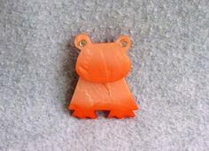 "Frog Pin Marie-Christine Pavone Brooch Signed Figural Designer French Bakelite Peach Orange 2 14"" by 1 3/4"" Gold Eyes Vintage"
