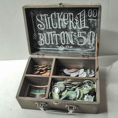 Age a craft store box to make a rustic chalkboard display case for about 10 bucks  Great for craft show display idea