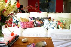 All florals, all the time!  Eclectic Living Room by Tamar Schechner/Nest Pretty Things Inc