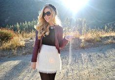 Fun skirt + burgundy leather