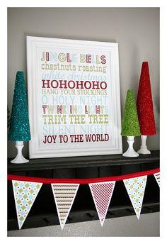Christmas subway art and banner free printables.