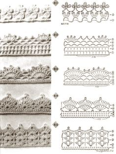 alice brans posted Crochet edging diagrams for a afghan, baby blanket, scarf, dish towel, pillowcase. to their -crochet ideas and tips- postboard via the Juxtapost bookmarklet.Trendy crochet flower edging patterns crochet edges pattern – an entire Crochet Edging Patterns Free, Crochet Boarders, Crochet Lace Edging, Crochet Diagram, Crochet Chart, Crochet Trim, Crochet Designs, Easy Crochet, Free Crochet
