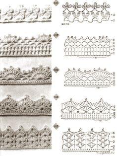 Crochet border patterns. http://www.liveinternet.ru/users/3798319/post135236243/