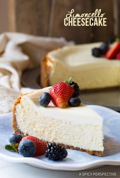 Heavenly Limoncello Cheesecake with Biscotti Crust | ASpicyPerspective.com