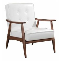 Glossy White Button Tufted Leatherette Arm Chair with Walnut Stained Base  The Rocky Armchair is Mid-Century Retro perfection with it's plush button tufted seat and back upholstery and the sculpted angled arms and leg; finished in a rich warm walnut stain. Sold separately collection includes Arm chair & Sofa in either Black, White Leatherette or Grey Poly-Linen.