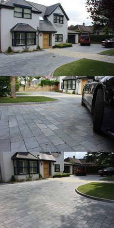 Most Popular Modern Driveway Paving Ideas and Layouts Front Garden Ideas Driveway, Modern Driveway, Driveway Design, Driveway Landscaping, Hydrangea Landscaping, Block Paving Driveway, Stone Driveway, Patio Steps, Cheap Paving Ideas