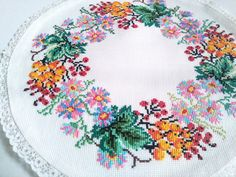 embroidery stitches hand  table cover  flowers table  cottage style   country style   farmhouse kitchen   farmhouse dining  oval tablecloth embroidered napkin  table napkin  kitchen napkin   kitchen tablecloth   table embroidered  napkin ornament decoration napkin