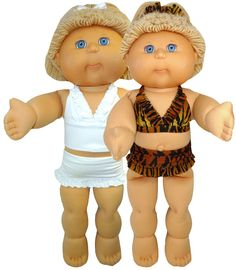 Get ready for summer with this super cute bikini doll clothes pattern for 18 1/2 inch Cabbage Patch Kids dolls. You get patterns for both th...