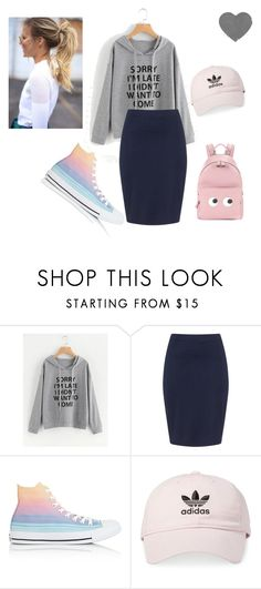"""""""Sorry Im LATE!!"""" by canashiloh on Polyvore featuring Zizzi, Converse, adidas and Anya Hindmarch"""