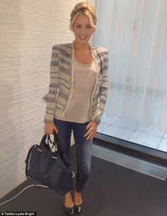 Smart: Lydia was wearing a pair of skinny jeans and jacket for her evening out Smart Casual Outfit, Casual Winter Outfits, Celebrity Dresses, Celebrity Style, Fashion Beauty, Fashion Looks, Handy Tips, Work Looks, Love Her Style