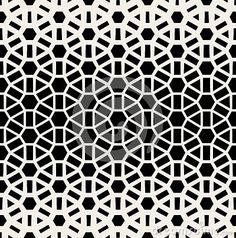 Vector Seamless Black & White Geometric Grid Halftone Pattern