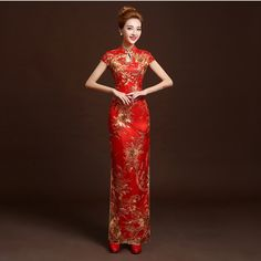 b46e568b9 4 Color Fashion Red Lace Bride Wedding Qipao Long Cheongsam Chinese  Traditional Dress Slim Retro Qi Pao Women Antique Dresses