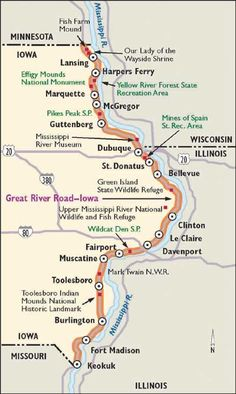 The Great River Road runs along the Mississippi River in Iowa and other states. Check out the Iowa portion of one of America's great scenic drives. Iowa State, State Parks, Illinois, Places To Travel, Places To Visit, Travel Destinations, Wisconsin River, Lake Michigan, Mississippi