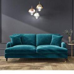 Navy Blue Velvet Sofa, Velvet Sofa Bed, Teal Sofa, Velvet Corner Sofa, Blue Sofas, Teal Living Rooms, Living Room Sofa, Living Room Decor, Sofa Chester