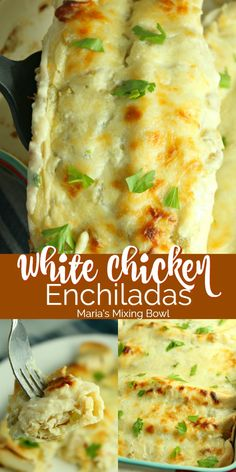 These White Chicken Enchiladas have a rich and creamy from scratch sauce that take them over the top not to mention their simplicity Incredible comfort food in just minutes chicken enchiladas white creamy easy weeknight dinner recipe Mexican White Sauce Enchiladas, Creamy Chicken Enchiladas, Chicken Enchilada Casserole, Mexican Enchiladas, Chicken Enchilada Sauce Recipe, Recipe For Chicken Enchiladas, Rotisserie Chicken Enchiladas, Green Chili Enchiladas, Turkey Enchiladas