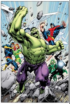 This is the full cover for Savage Hulk #1, drawn by Alan Davis, as revealed in an interview with Newsarama. (I already posted the version of the cover with silhouettes, but more detail means that I can post this one.) The plus is that we get Alan...