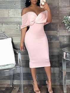 2018 New Fashion Summer Women Solid Casual Stylish Elegant Sheath Dress Beaded Embellished Cross Wrap Bardot Bodycon Dress Women's Fashion Dresses, Sexy Dresses, Cute Dresses, Evening Dresses, Chiffon Dresses, Lace Chiffon, Elegant Dresses For Women, Luxury Dress, Latest Fashion For Women