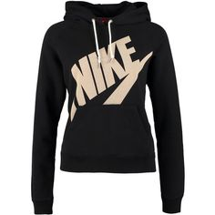 Nike Sportswear RALLY Sweatshirt ($69) ❤ liked on Polyvore featuring tops, hoodies, sweatshirts, jackets, outerwear, shirts, black, black sweatshirt, black collared shirt and nike hoodies