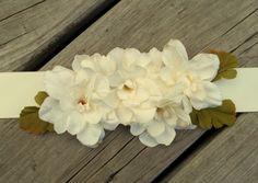 Wedding Bridal Sash Rustic Ivory Flowers Leaves by kathyjohnson3
