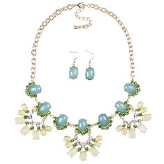 Exaggerated Alloy and Resin Candy Delicate Snowflake Necklace Earrings Jewelry Set for Women Ladies