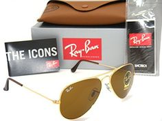 Authentic RayBan Aviator 3025 RB3025 00133 55mm Gold Frame  Brown Lens Small -- More info could be found at the image url.