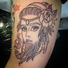 Started this pretty bearded lady on a rad girl last week! #beardedlady #beardedladytattoo #traditionaltattoo #neotraditional #neotraditionaltattoo #linetattoo #tattoocircle #spikeomatic #madisonwi